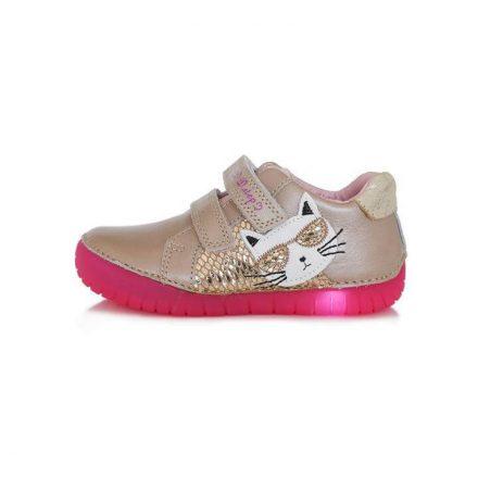 D.D.Step villogó talpú, kislány bőr cipő (25-30) 050-17B